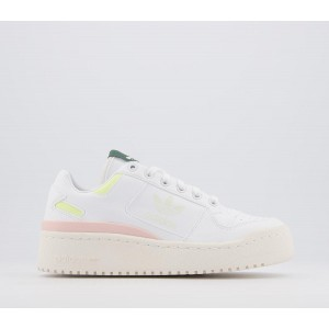 adidas Forum Bold Trainers White Yellow Tiny Icey Pink White - Hers trainers for Women ODSE82342