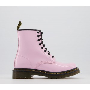 Dr. Martens 8 Eyelet Lace Up Boots Pale Pink Patent - Ankle Boots for Women 3XYYR5566