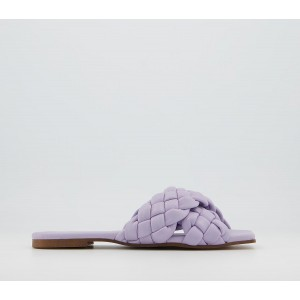 Office Stare Plaited Cross Strap Mules Lilac Leather - Non Promo Products for Women Best G014O1792