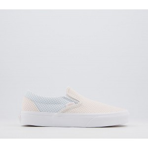 Vans Vans Classic Slip On Trainers Pastel Checkerboard Misty Blue Silver Peony - Hers trainers for Women Fit SIC36506