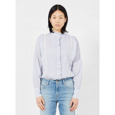 BERENICE Women's CASTA - White Embroidered striped cotton shirt with Victorian collar Express XHOI956