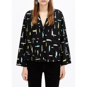 BIMBA Y LOLA Women's Multicolored Printed shirt with tailored collar Express HJJH582