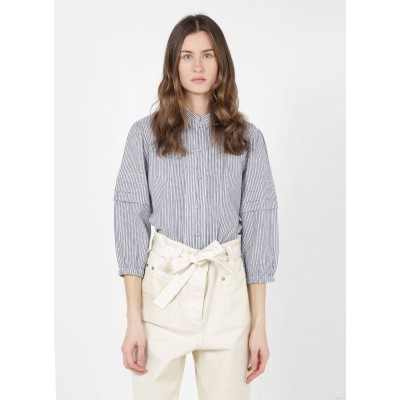 DAY OFF Women's IDETTE - Blue Striped cotton shirt with mandarin collar shopping DGLE708