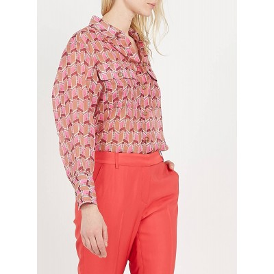 GERARD DAREL Women's Red Printed shirt with classic collar Lowest Price XETT232