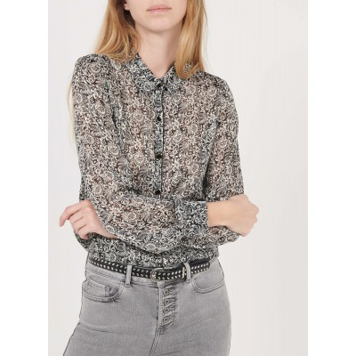 I CODE Women's QS12034 - Black Printed voile shirt with classic collar Hot CAGC224
