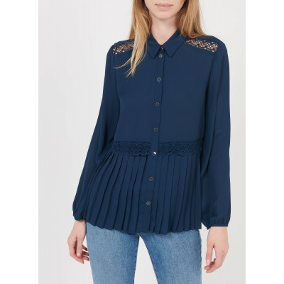 I CODE Women's QS12044 - Blue Embroidered pleated shirt with classic collar boutique CJZD139