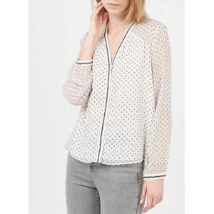 I CODE Women's QS13014 - White Embroidered voile V-neck shirt In Store NGIE710