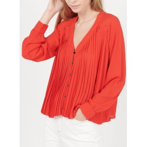I CODE Women's QS13094 - Red V-neck pleated shirt with jewels The Most Popular HOFB205