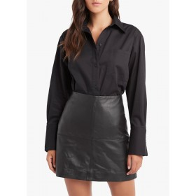KOOKAI Women Black Loose-fit cotton shirt with classic collar on style BDBN842