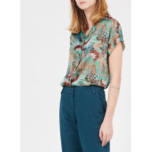 LA FEE MARABOUTEE Women Green Printed voile shirt with tailored collar HPPN593