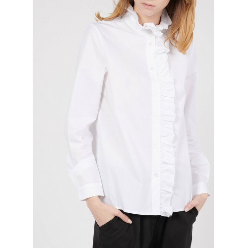 LA FEE MARABOUTEE Women White Cotton shirt with Victorian collar Best XCOQ168