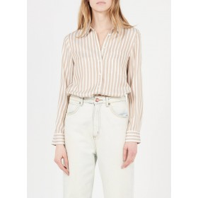 MARC O'POLO Women's Beige Striped shirt with classic collar shopping XRRB494