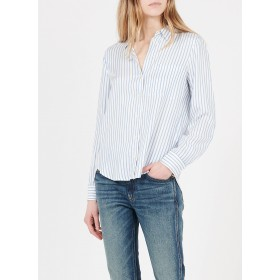 MARC O'POLO Women's Blue Striped shirt with classic collar HWET643
