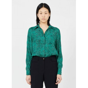 PABLO Women's CLEMENCE - Green Leopard print shirt with classic collar Clearance MFOB881