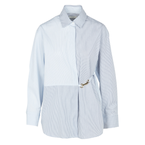 SANDRO Women MADDLY - White Striped cotton shirt with classic collar Cut Off CFYS736