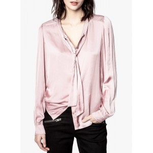 ZADIG&VOLTAIRE Women's TAOS - Purple Satin shirt with pussy-bow collar The Most Popular UZQL793