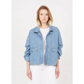 CLOSED Women's HYENA - Blue Loose-fit high-neck jacket guide NYJF493