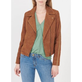 I CODE Women's QS48034 - Brown Studded leather jacket with tailored collar The Top Selling ZMAP205