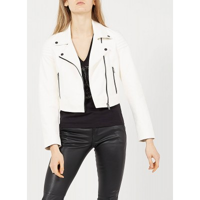 IKKS Women White Leather jacket with classic collar INQJ449