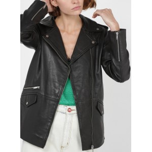 IKKS Women's Black Leather jacket with classic collar on style OTMF443