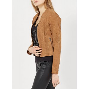 IKKS Women's Brown Round-neck leather jacket business casual DYVO306