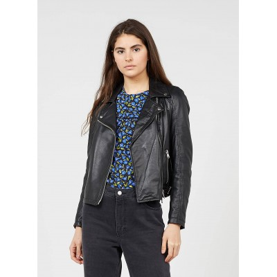 LA FEE MARABOUTEE Women's Black Leather jacket with classic collar new look LOIK294