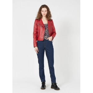 NAF NAF Women's Red Short leather jacket with tailored collar Cost ZSDO388