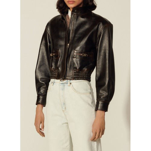 SANDRO Women's SELAM - Brown High-neck leather jacket stores QSUD460