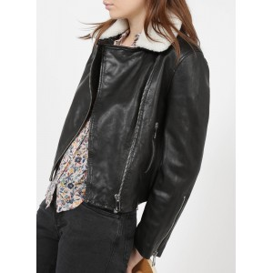 WHISTLES Women Black Sheepskin leather jacket with collar Or Sale Near Me MLWD875
