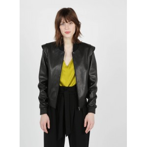 ZAPA Women's VERRY - Black Zip-up leather jacket with varsity collar The Most Popular QBRP203