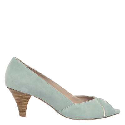 BOCAGE Women DELPHINE - Green Open-heeled leather heels Hot EVIC314