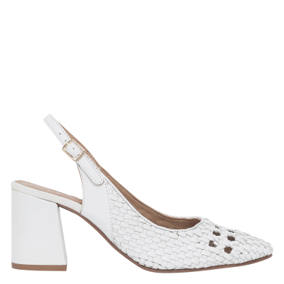 BOCAGE Women's DRICE - White Braided leather high heels Comfort PZYY870
