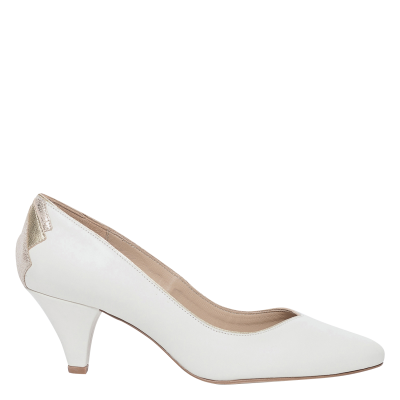 BOCAGE Women's IZOLD - White Smooth leather high heels with inserts lifestyle ENUF294