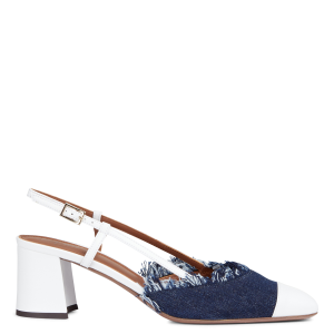 L'AUTRE CHOSE Women Blue Two-tone heeled leather and denim Mary Janes 2021 Trends GSCM696