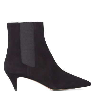 BA & SH Women's CHEL - Black Leather mid-calf boots with pointed toe boutique RAJH561