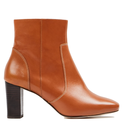 DAY OFF Women HELEN C - Beige Leather mid-calf boots with square toe Clearance XHEA962