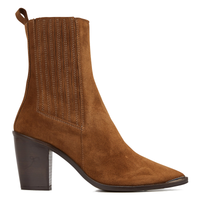 JONAK Women BASAMA CROUTE - Brown Pointed-toe leather calf boots sale next TVMC574