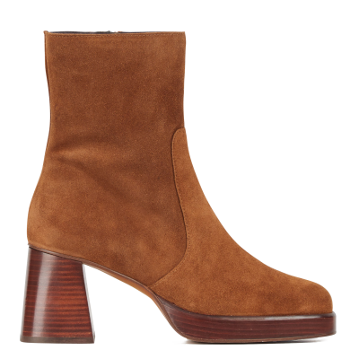 JONAK Women BRIGAND CROUTE - Brown High-heeled leather platform mid-calf boots business casual OTDS473