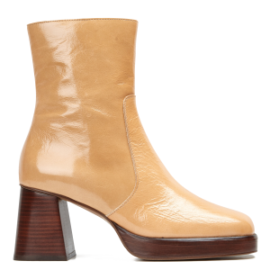 JONAK Women's BRIGAND CUIR BRILLANT - Brown Weathered patent leather heeled mid-calf boots 2021 New KYOI507