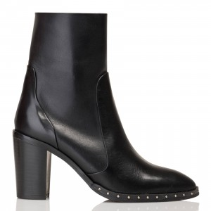 JONAK Women's DIBOUNA CUIR - Black Heeled leather ankle boots Hot Sale VNSQ336