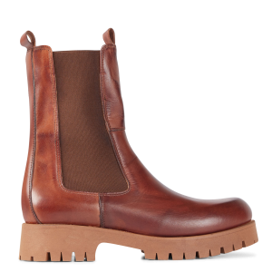 JONAK Women's RIDLE CUIR - Brown Leather mid-calf boots on clearance ODDR695