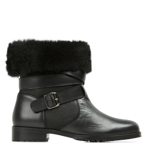 MELLOW YELLOW Women OCATHIA - Black Fur-lined leather mid-calf boots Lowest Price ZJZU268