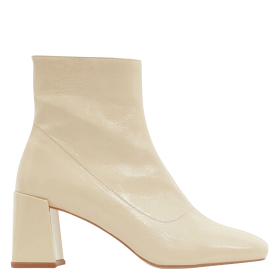 MINELLI Women's ZALENA - Beige Heeled patent leather ankle boots In Sale DIAE299