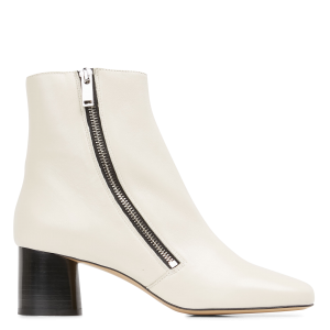 SANDRO Women's CARAE - White Heeled leather mid-calf boots Trending QOZE666