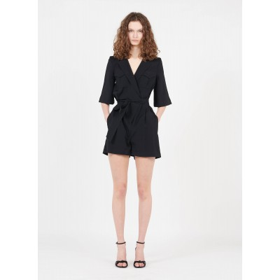 BA & SH Women CALI - Black Belted playsuit with tailored collar In Sale JKPH406