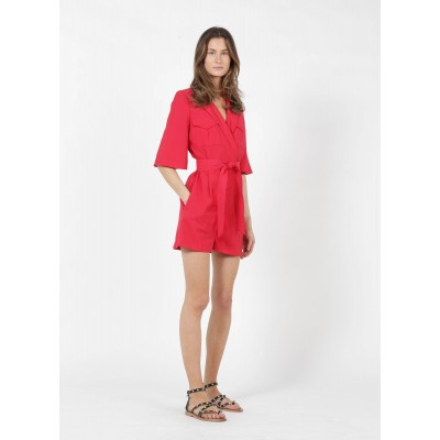 BA & SH Women's CALI - Red Belted playsuit with tailored collar Fashion CGGL562