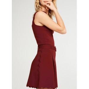CLAUDIE PIERLOT Women's MARYLEN - Red High-waisted scalloped shorts The Most Popular NJPY609