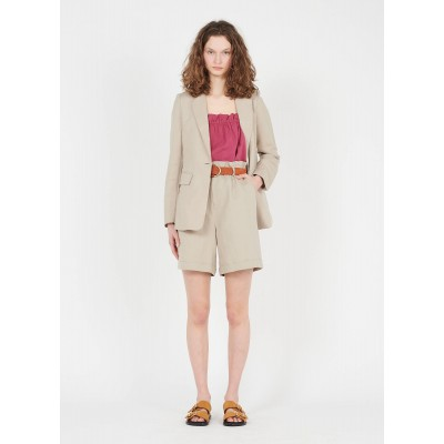 DAY OFF Women's GUY - Beige High-waisted linen-mix chino shorts in style HZVH973