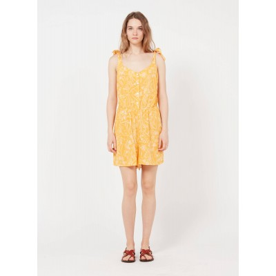 DES PETITS HAUTS Women ELISABETH - Yellow Printed square-neck playsuit In Store OOLK550