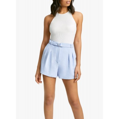 KOOKAI Women's Blue Belted high-waisted shorts outlet ILSO698